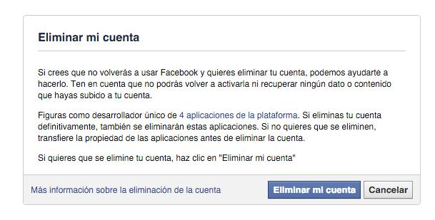 eliminar cuenta facebook - fisiomuro